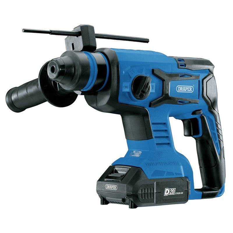 Draper D20 20V Brushless SDS+ Rotary Hammer Drill with 2 x 2.0Ah Batteries and Charger (D20SDSD1.7JSET)