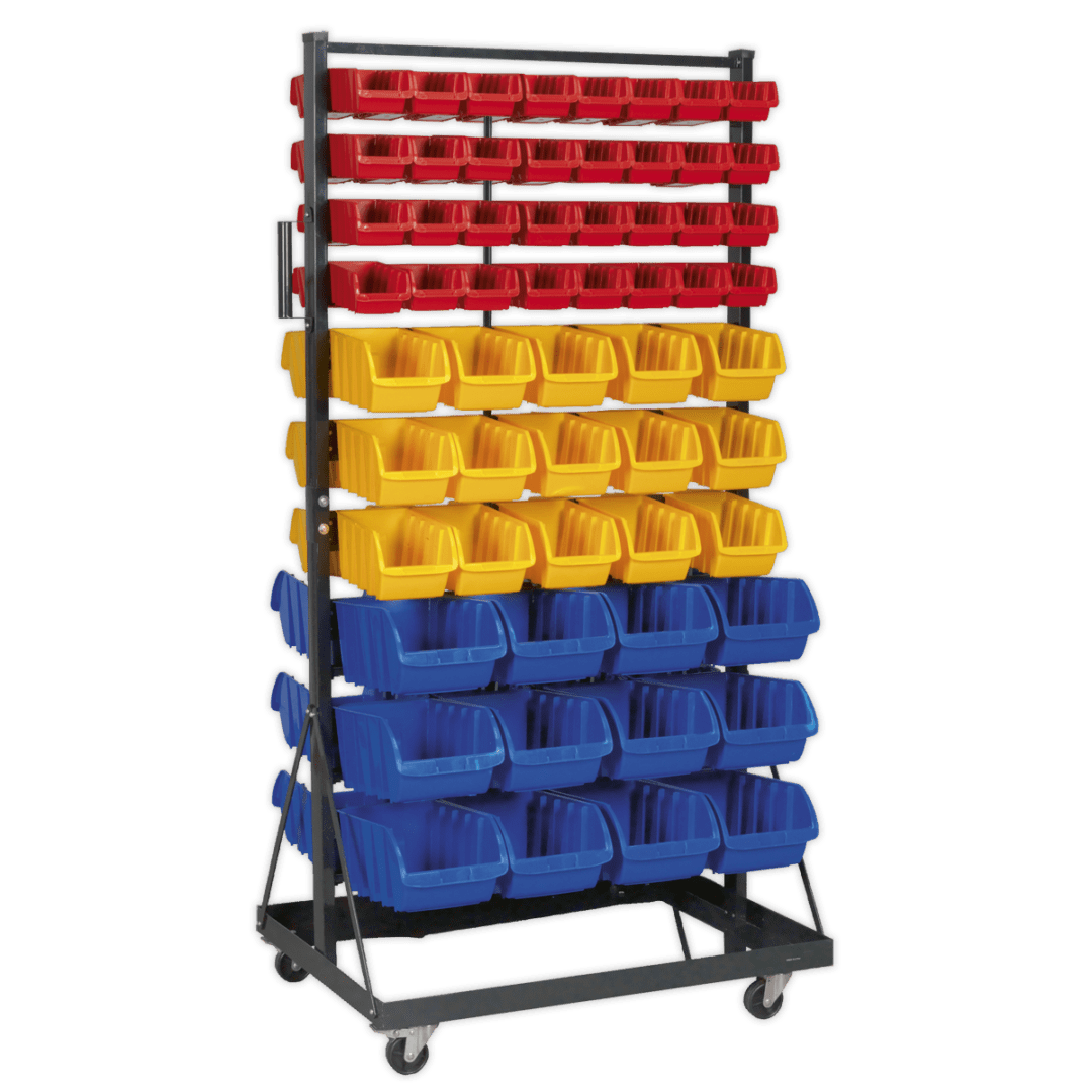 SEALEY MOBILE DOUBLE-SIDED STORAGE BIN SYSTEM TPS118   118 Bin mobile storage system, ideal for parts or various sizes nuts and bolts   toolforce.ie