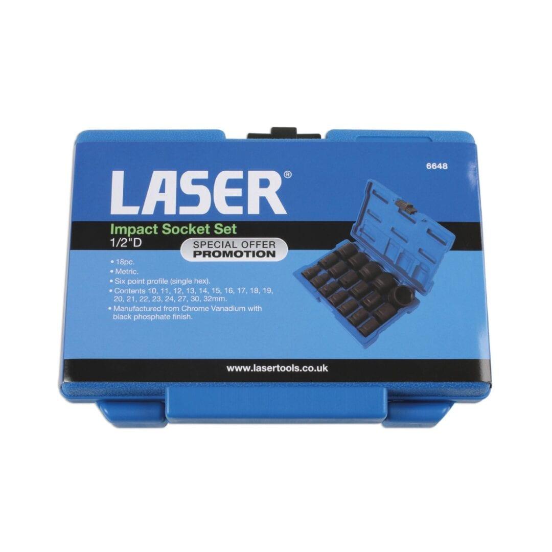 "Laser Impact Socket Set 1/2""D 18pc"