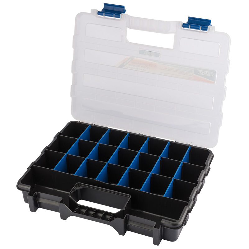 """Draper 12"""" Multi-Compartment Organiser (QC12P)   Plastic organiser with an adjustable matrix of storage compartments.   toolforce.ie"""