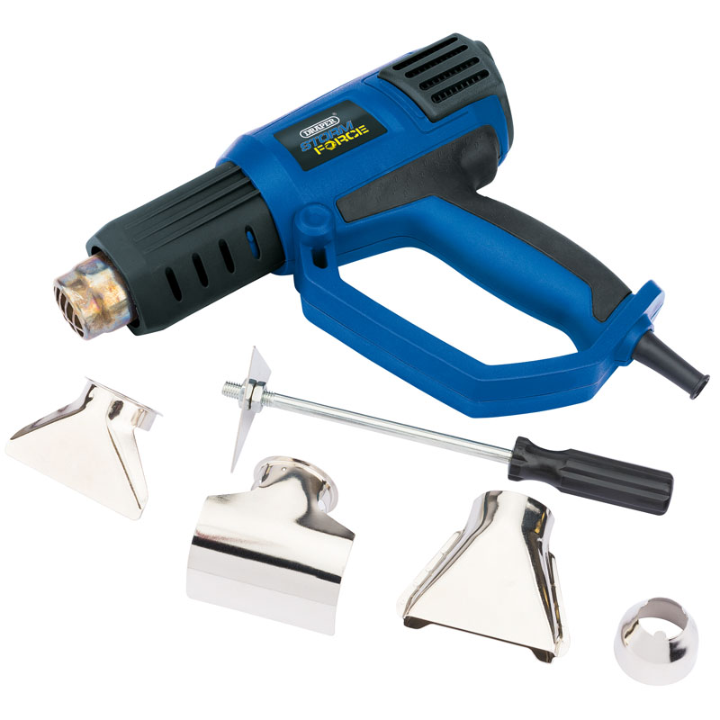 Draper Storm Force Hot Air Gun, 2000W (15225) | Stands upright for hands-free use | toolforce.ie