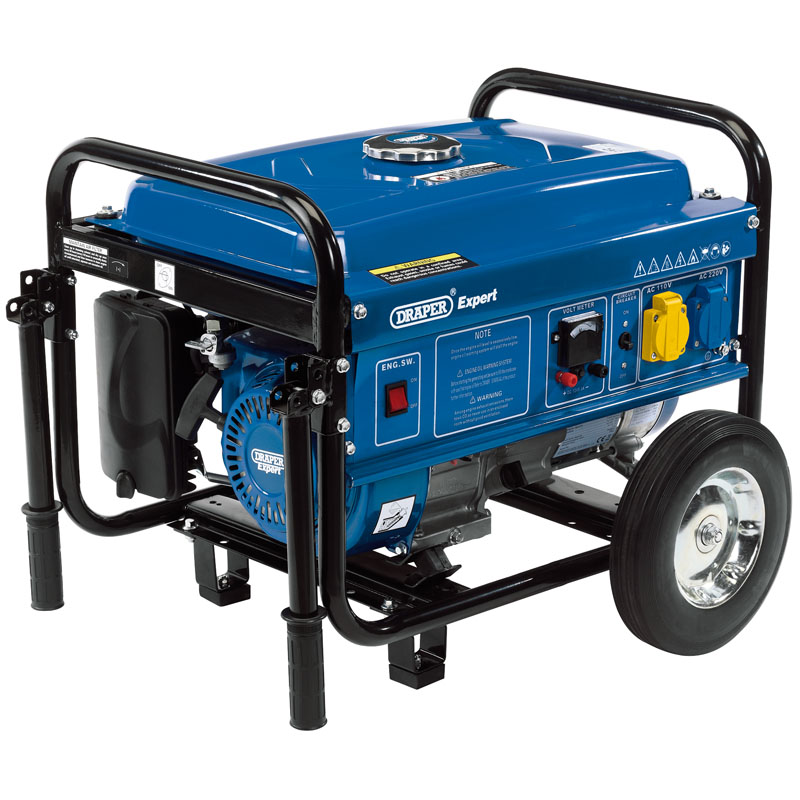 Draper Petrol Generator with Wheels, 2000W 16066   This petrol generator delivers dual voltage output of 230V/110V and 12V DC output.   toolforce.ie