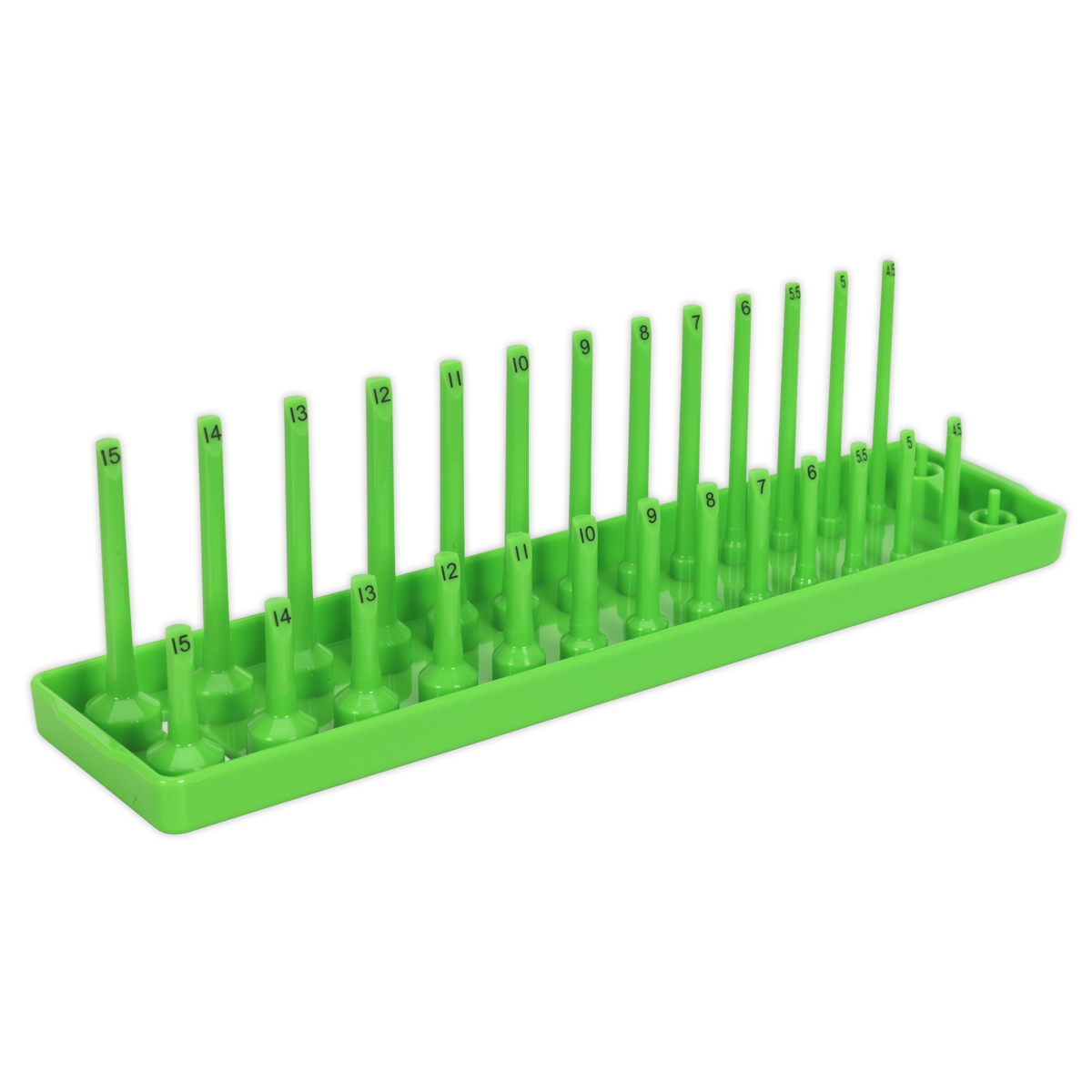 """Socket Holder 1/4""""Sq Drive 4-15mm Hi-Vis Green   Allows you to maintain a tidy workstation with sockets always to hand.   toolforce.ie"""
