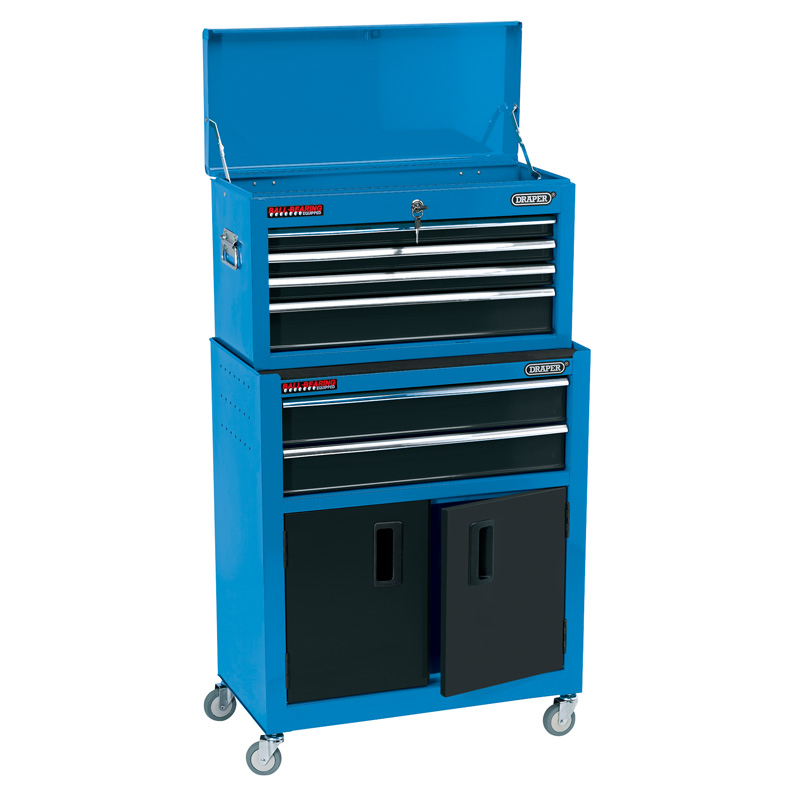 """Draper Combined Roller Cabinet and Tool Chest, 6 Drawer, 24"""", Blue (RCTC6/B) 