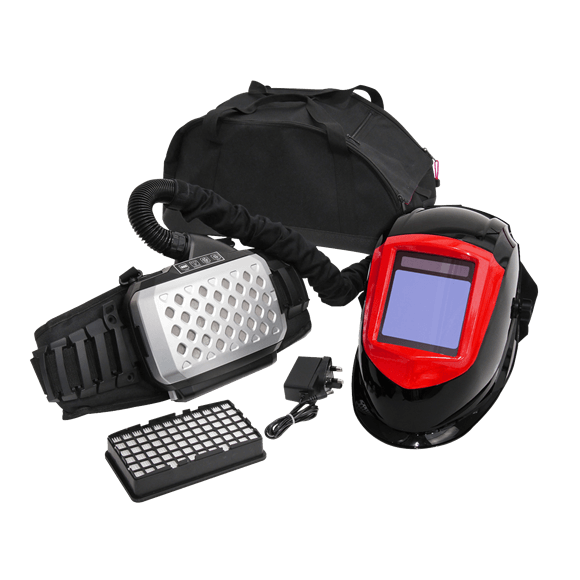 Sealey Welding Helmet Respirator with Air Purifier PWH615    Features a loud audible and visual alarm to alert user of low battery/low air.   toolforce.ie