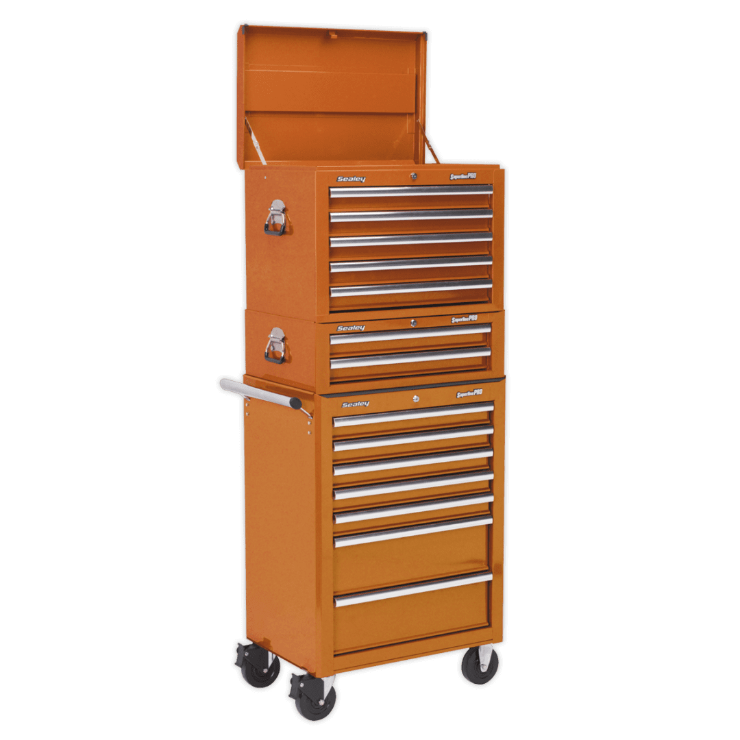 Sealey Superline Pro Combination 14 Drawer | 3 Tier 14 drawer tool chest | Roller bearing sliders| toolforce.ie