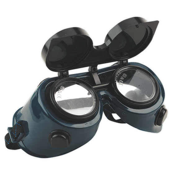 Gas Welding Goggles with Flip-Up Lenses   Clear polycarbonate safety lenses with shade 5 flip-up lenses.   toolforce.ie