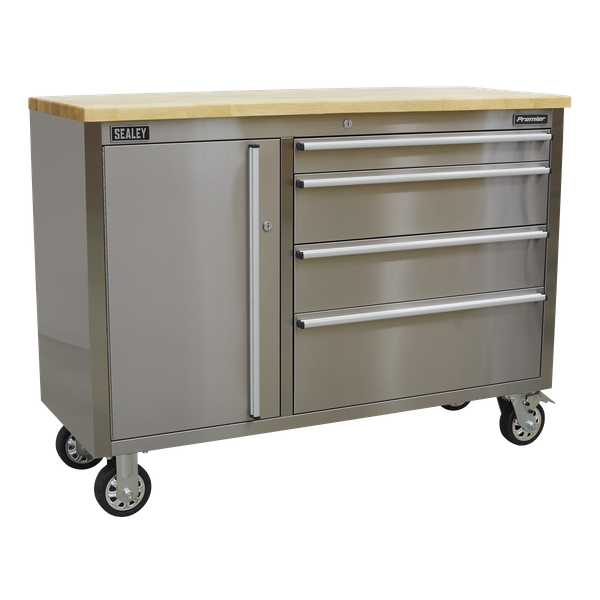 Sealey Stainless Steel Mobile Tool Cabinet With Workbench AP4804SS | Four large castor wheels, two fixed and two swivel that include brakes. | toolforce.ie