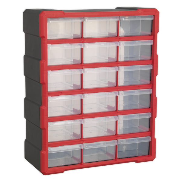 SEALEY 18 DRAWER CABINET BOX APDC18R   Ideal for storing a mixture of small to large fixings and components.   toolforce.ie