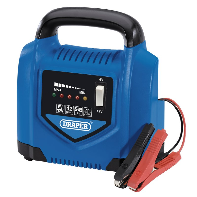 Draper 6/12V Battery Charger, 4.2A, 5 - 45Ah (BCP5) | A portable battery charger that's suitable for 5Ah - 45Ah lead - acid batteries. Fitted with overheating and polarity protection capabilities. | toolforce.ie
