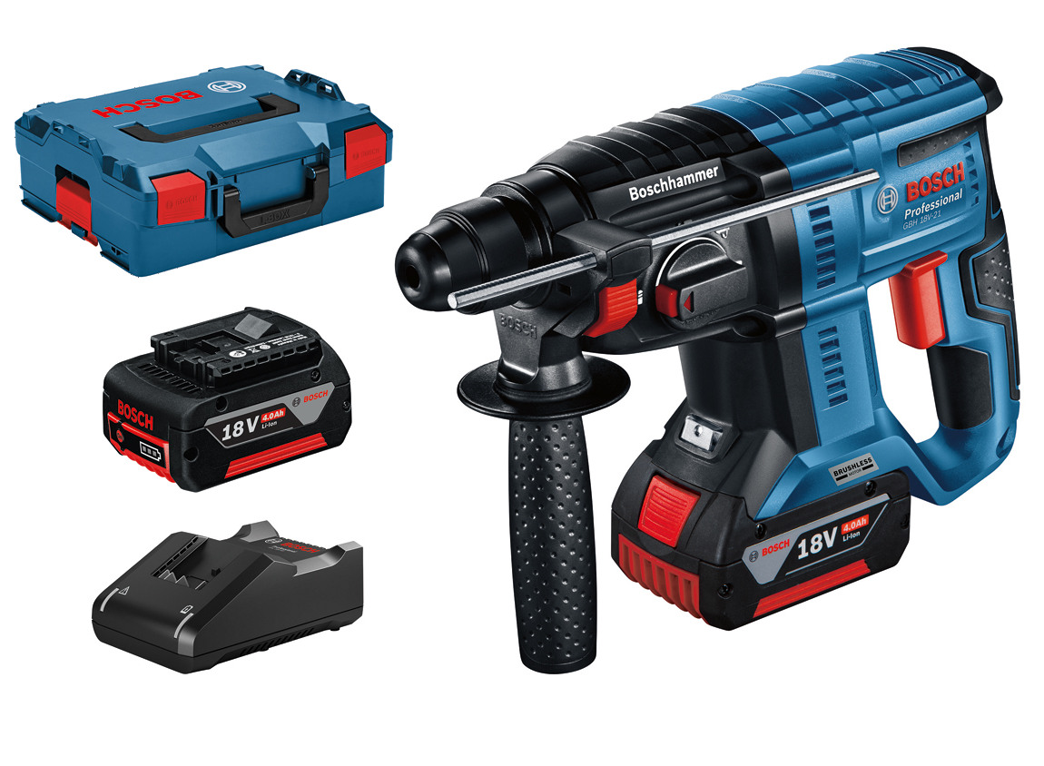 Bosch GBH18V-21 18v Cordless SDS+ Rotary Hammer Drill 2 x 4.0Ah Batteries | The GBH 18V-21 Professional comes with LED light, Rotation Control Clutch, Variable Speed, and Vario-Lock. |  toolforce.ie