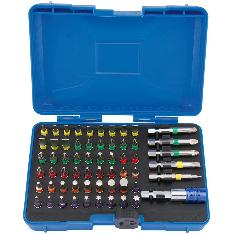 Draper Coloured Screwdriver Bit Set (60 Piece) (CMBH60)   Bit holder with quick release collet which allows bits to be expelled quickly and efficiently power tool .   toolforce.ie
