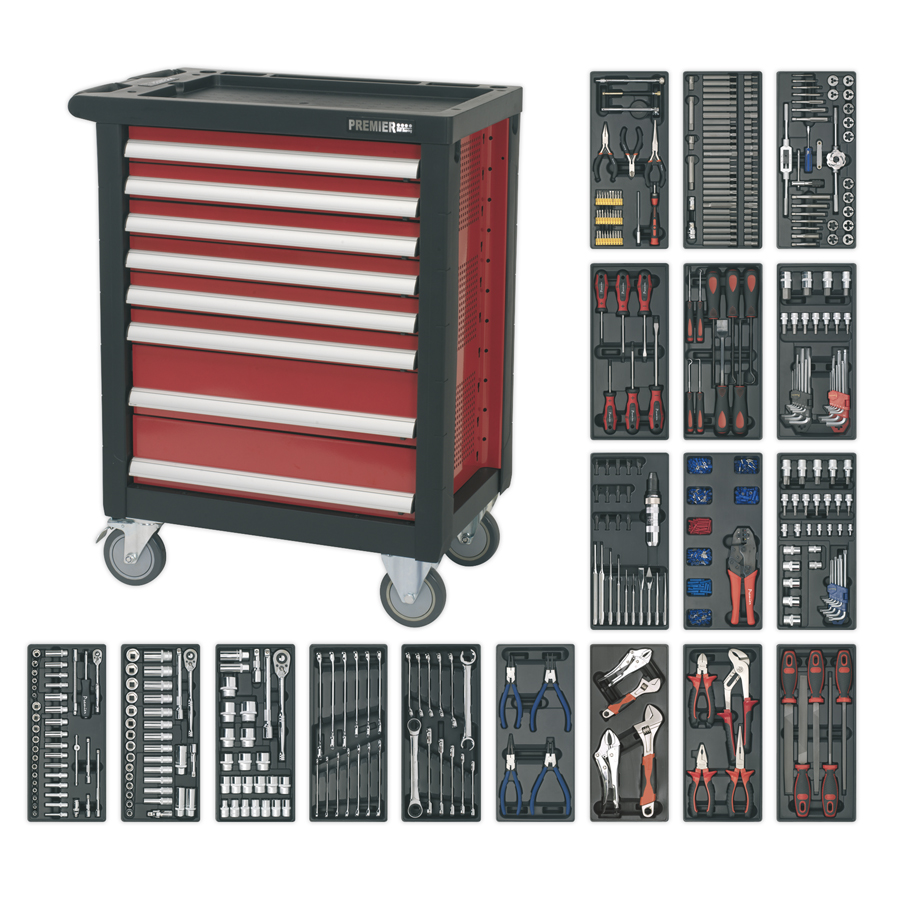 Sealey 8 Drawer Rollcab With 707 Piece Professional Tool Kit AP2408TTC08 | 8 Drawer Rollcab - Ball Bearing Slides | toolforce.ie