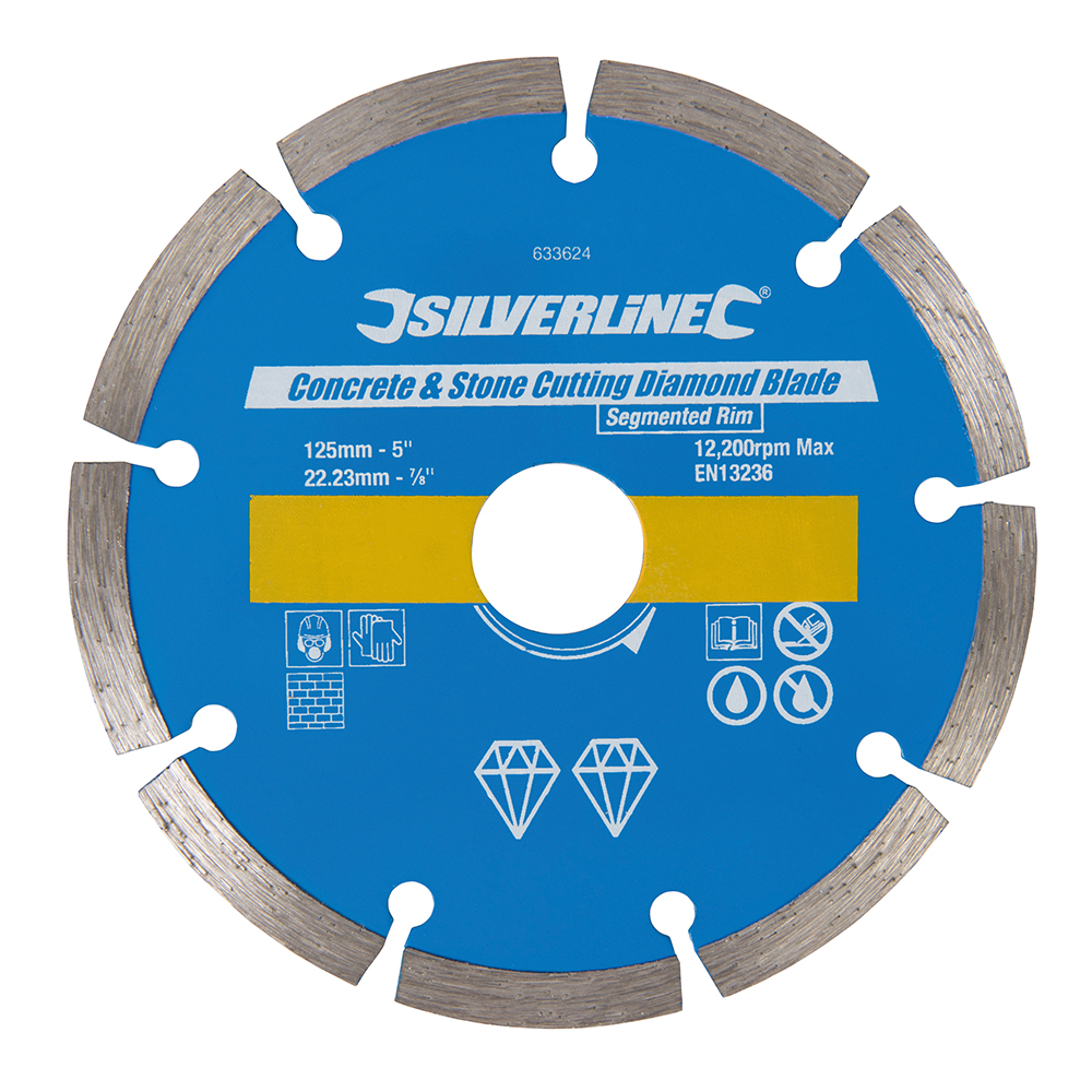 Silverline Concrete & Stone Cutting Diamond Blade 125 x 22.23mm Segmented Rim 633624   Blade with 7mm segment height for fast cutting and long life.   toolforce.ie