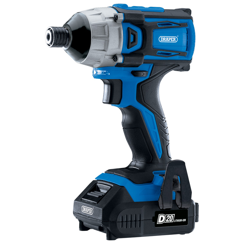 """Draper D20 20V Brushless Impact Driver, 1/4"""", 2 x 2.0Ah Batteries and Charger, 180Nm (D20ID180SET)"""