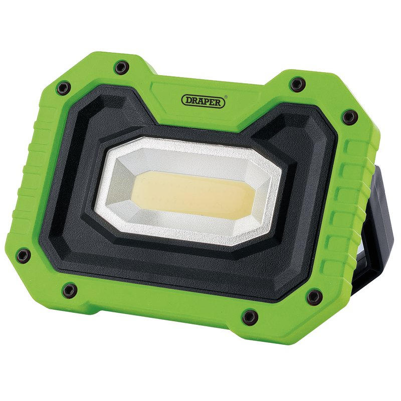 Draper COB LED Worklight, 5W, 500 Lumens, Green, 4 x AA Batteries Supplied (FL/500/G) | 5 watt COB LED work lamp with high and low light settings. | toolforce.ie