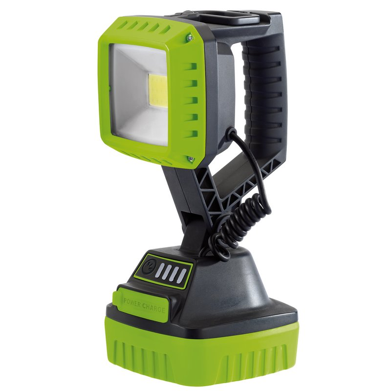 Draper COB LED Rechargeable Worklight, 10W, 1,000 Lumens, Green, 4 x 2.2Ah Batteries Supplied (RWL/1000/G)