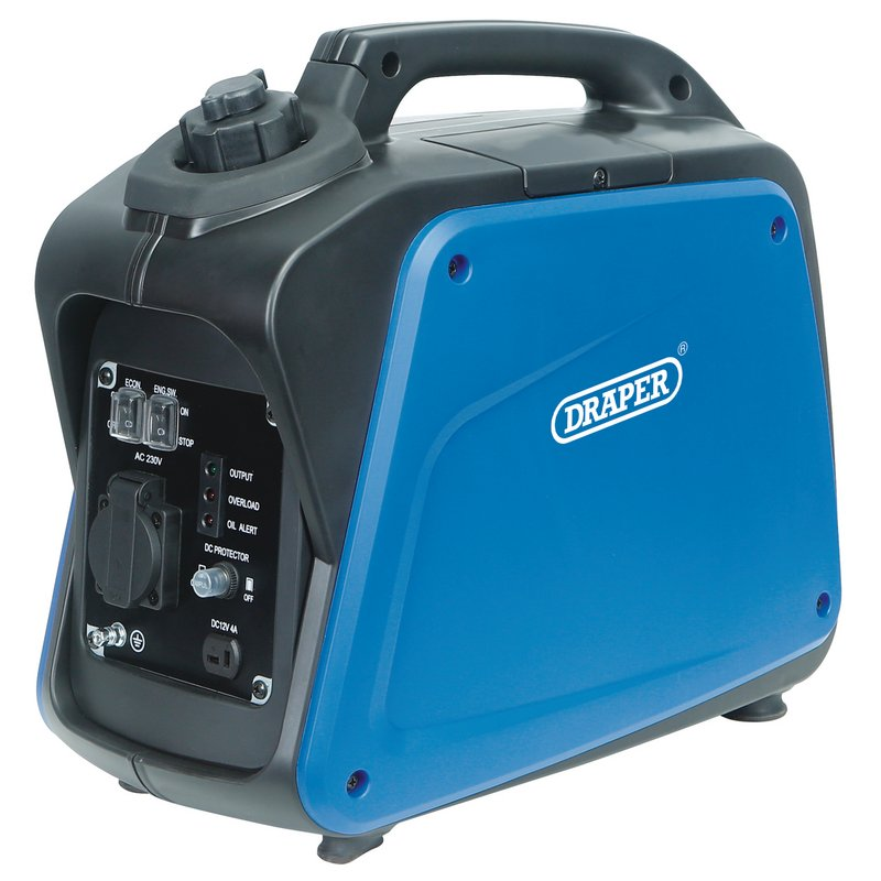 Draper Petrol Inverter Generator, 1000W (DGI1200DI)   This powerful generator is light and compact, compared to traditional generators, and is fitted with a carry handle.   toolforce.ie