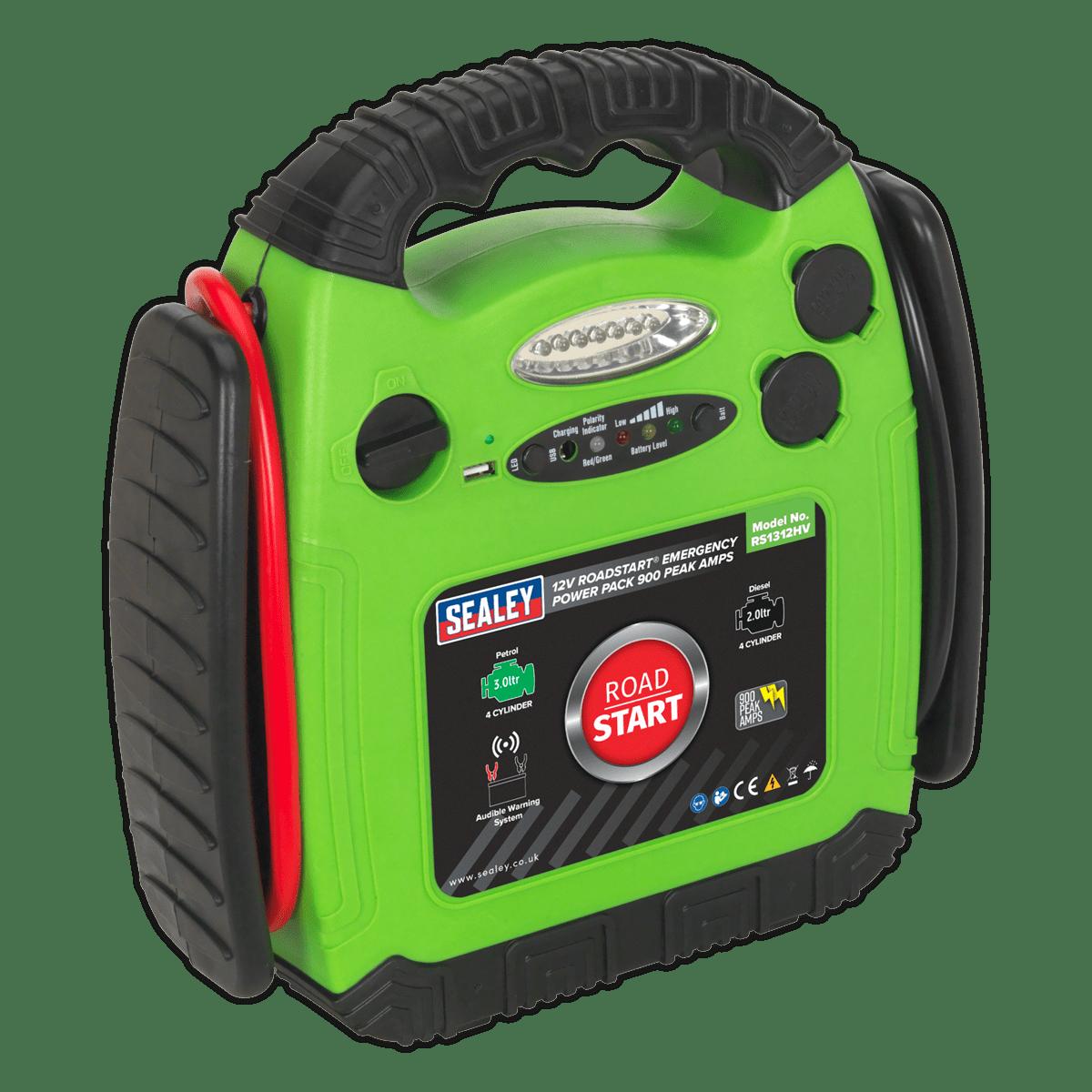 Sealey RoadStart® Emergency Jump Starter 12V 900 Peak Amps Hi-Vis Green RS1312HV | Composite hi-vis green case with moulded rubber protection, integral battery cable storage and carry handle. | toolforce.ie