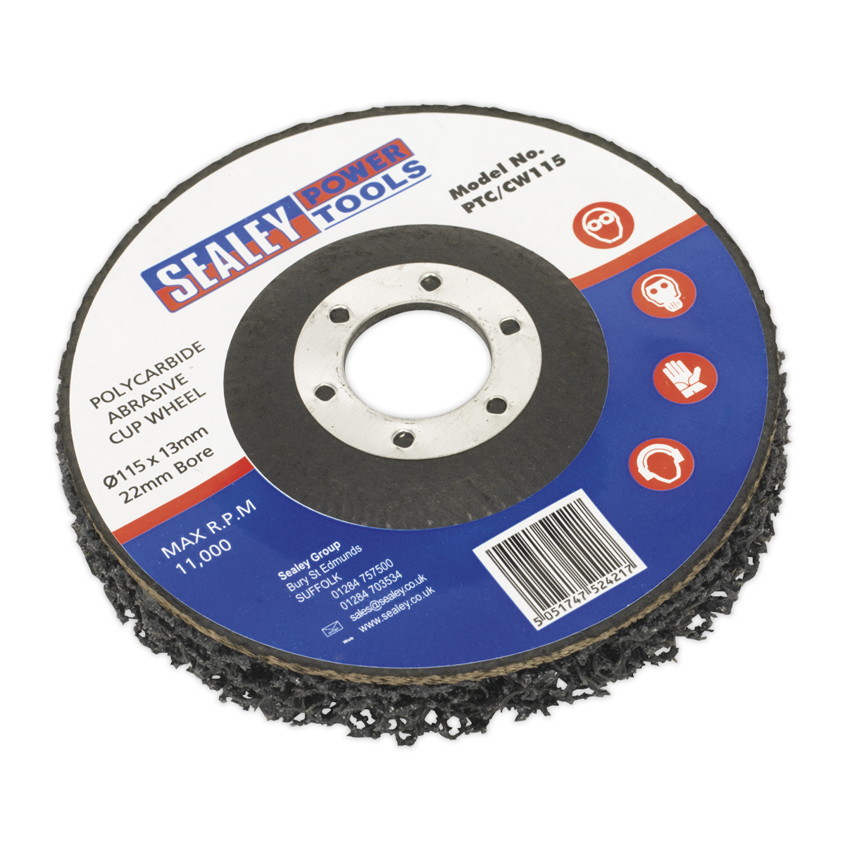 Sealey Polycarbide Cup Wheel Ø115 x 13 x Ø22mm PTC/CW115   Versatile abrasive wheel for use with Sealey and other leading makes of grinding and cutting power tools.   toolforce.ie