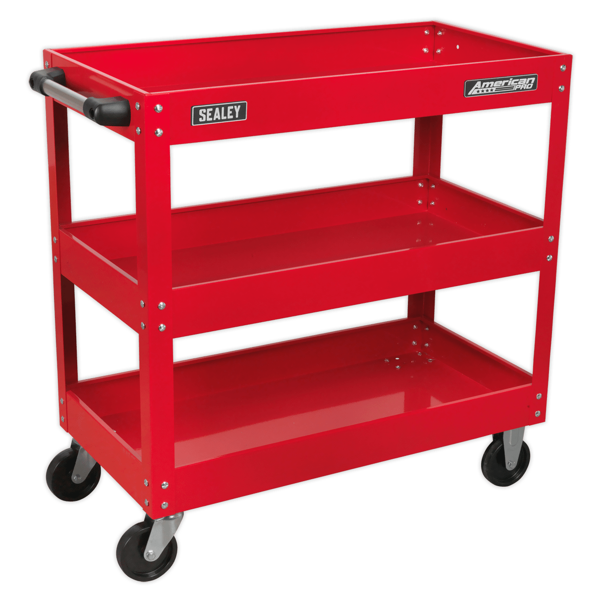 Sealey Workshop Trolley 3-Level Heavy-Duty CX108 | Ideal for regularly used workshop items such as body repair kits, power tools and bulky equipment too big for a tool chest.