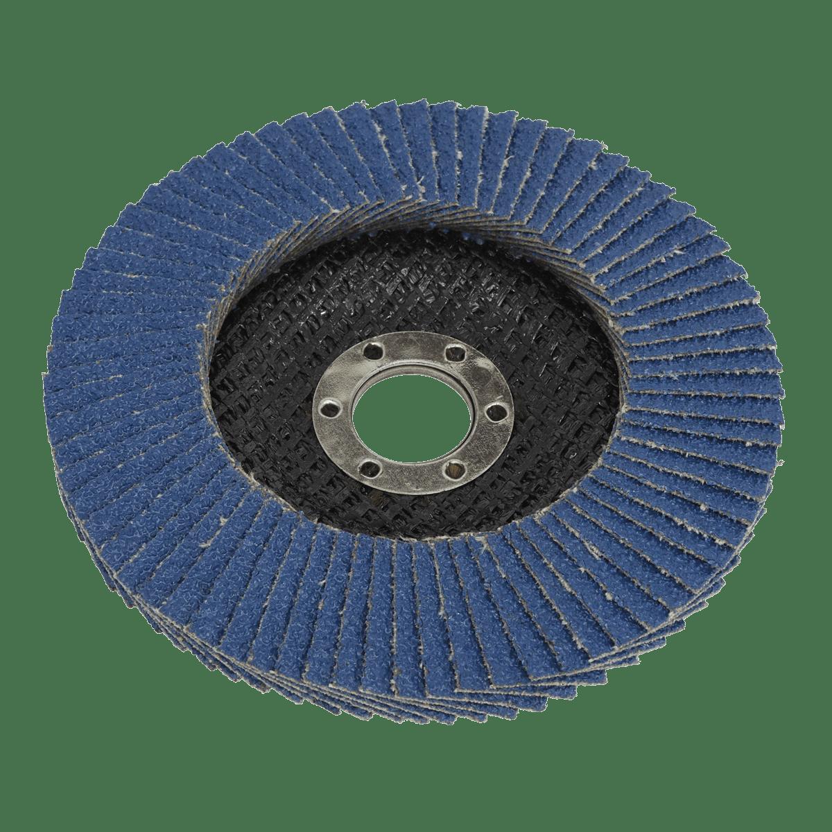 Sealey Flap Disc Zirconium Ø100mm Ø16mm Bore 40Grit FD10040   Zirconium flap disc for descaling, derusting, weld preparation, weld cleaning and general surface preparation.   toolforce.ie