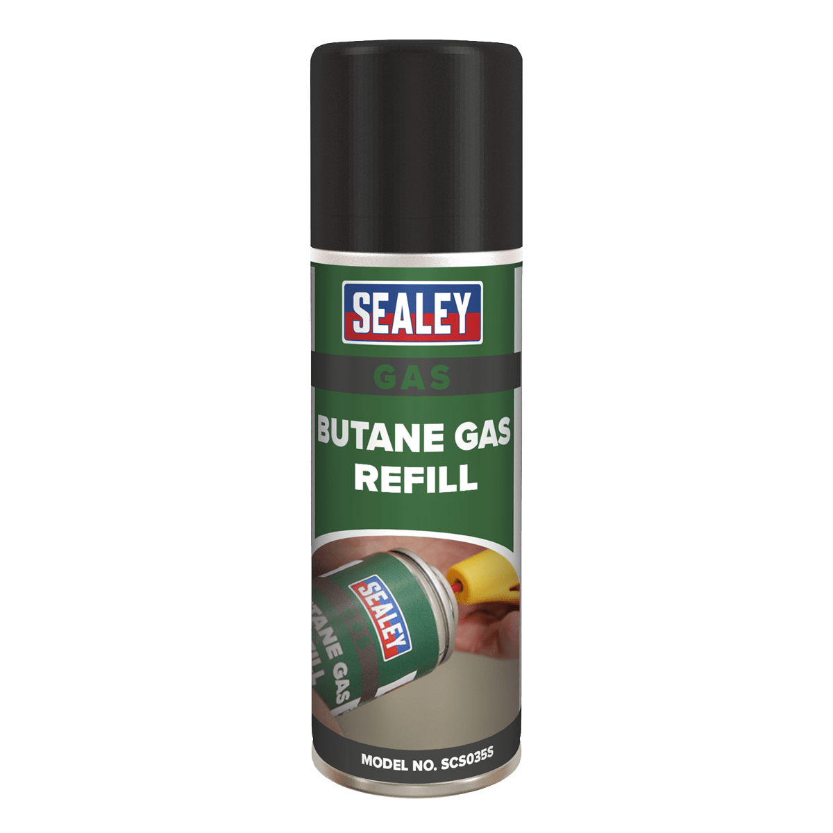 Sealey Butane Gas Refill 200ml SCS035S   High purity butane gas, helps prevent blocked nozzles, which can occur when using conventional lighter gas chargers.   toolforce.ie