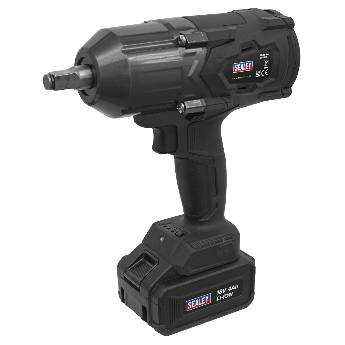 """Sealey Cordless Impact Wrench 18V 4Ah Lithium-ion 1/2""""Sq Drive CP1812"""