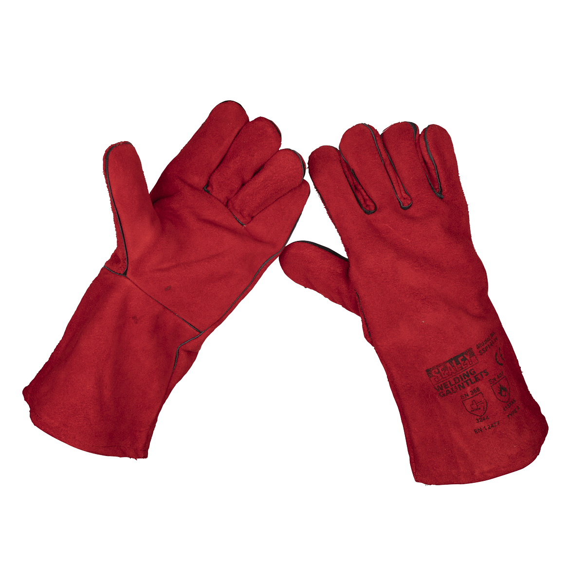 Sealey Leather Welding Gauntlets Lined Pair SSP141   Gauntlets offer superior protection from spatter and heat.   toolforce.ie