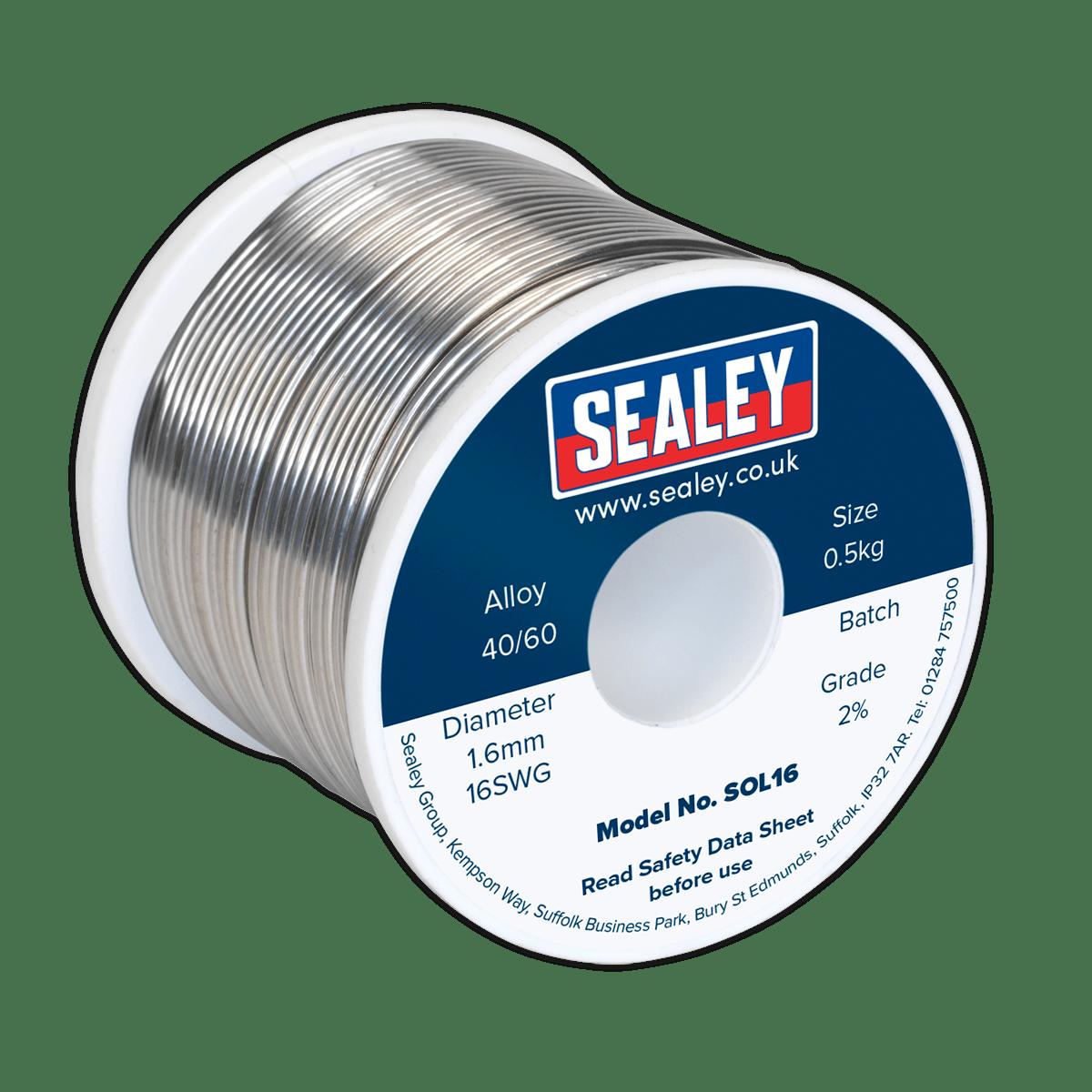 Sealey Solder Wire Quick Flow 1.6mm/16SWG 40/60 0.5kg Reel SOL16