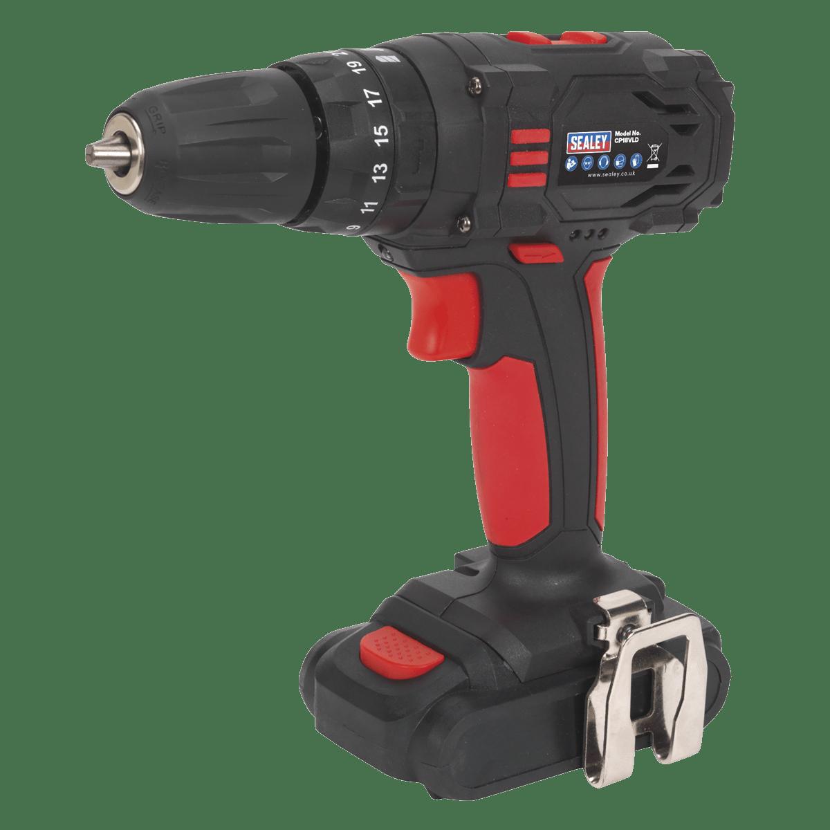 Sealey Cordless Hammer Drill/Driver Ø10mm 18V 1.5Ah Lithium-ion 2-S CP18VLD
