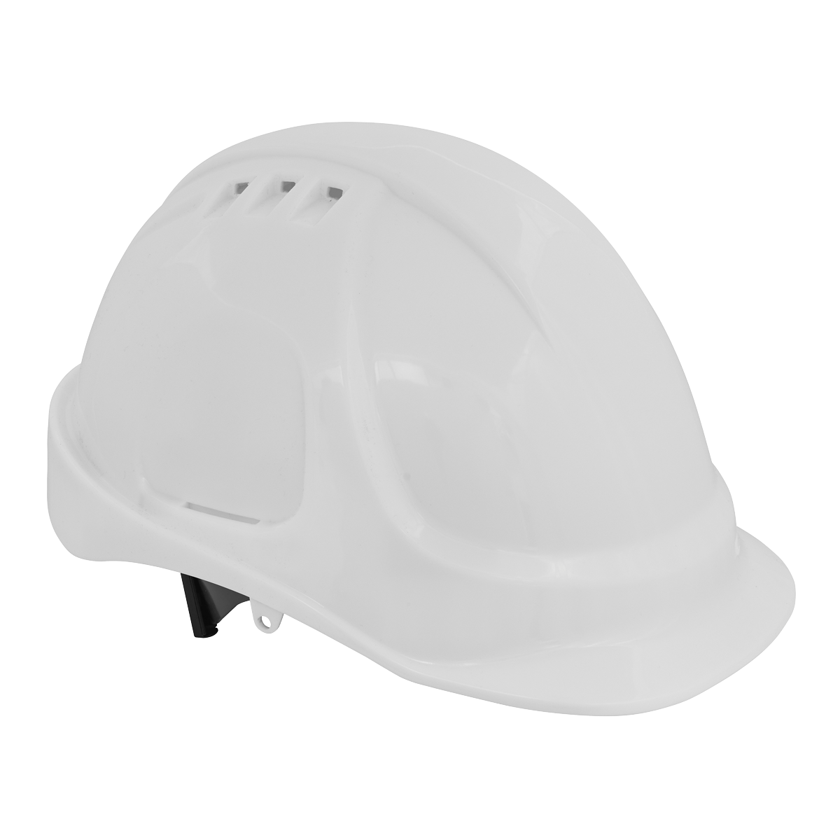 Sealey Safety Helmet - Vented (White) 502W   Material webbing cradle rather than rigid plastic means greater comfort when wearing all day.   toolforce.ie