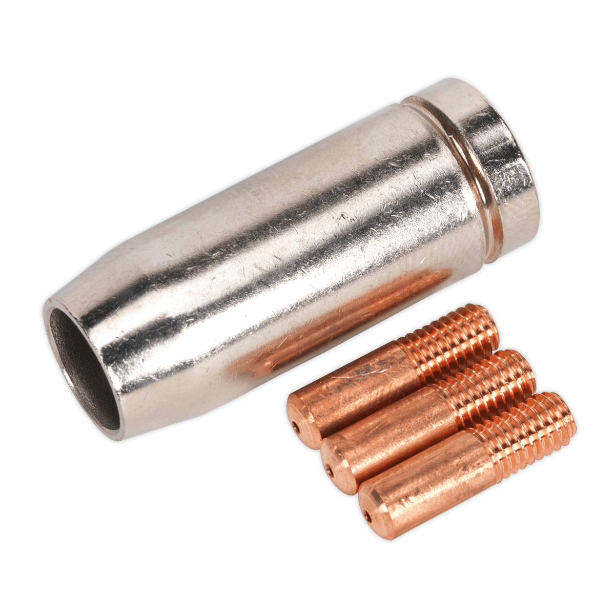 Sealey Conical Nozzle x 1 Contact Tip 0.8mm x 3 MB14 MIG954   Pack of three 0.8mm contact tips and one conical nozzle suitable for use with our range of Mightymig® welders.   toolforce.ie