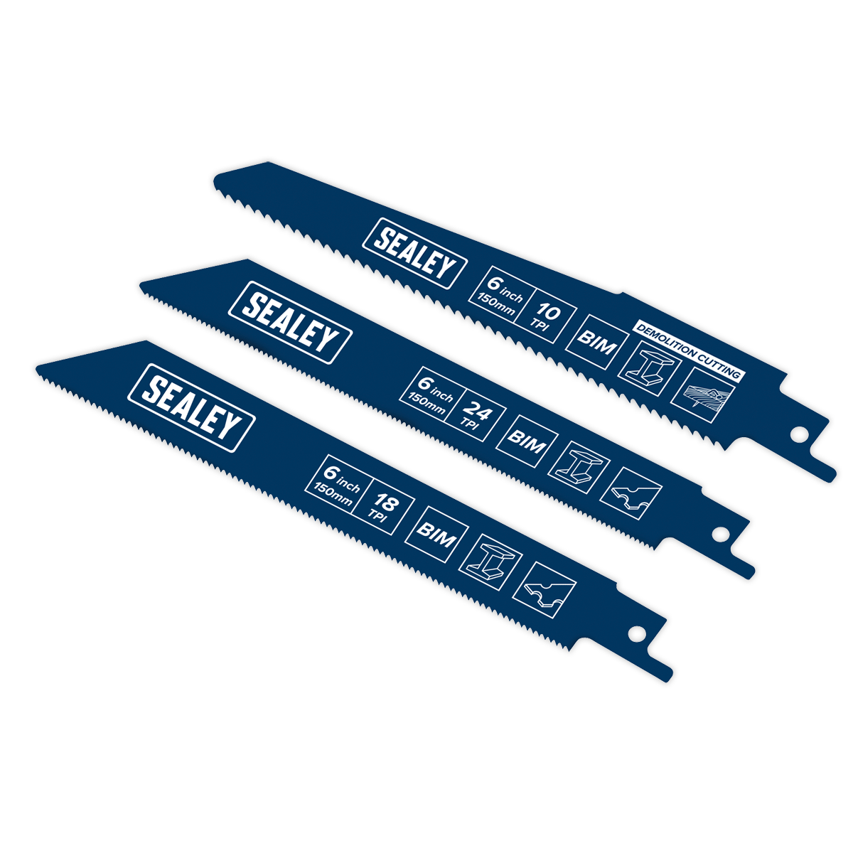Sealey Reciprocating Saw Blade Set 3pc 150mm SBS3150