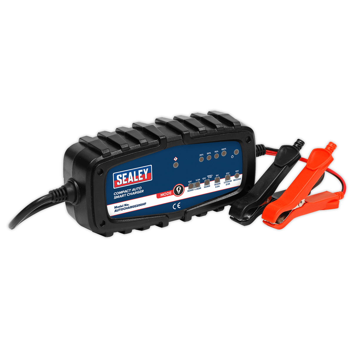 Sealey Compact Auto Smart Charger 2A 9-Cycle 6/12V - Lithium AUTOCHARGE200HF | Dual voltage smart charger/maintainer ensures that the battery is kept fully charged and ready-to-use for extended periods of time. | toolforce.ie