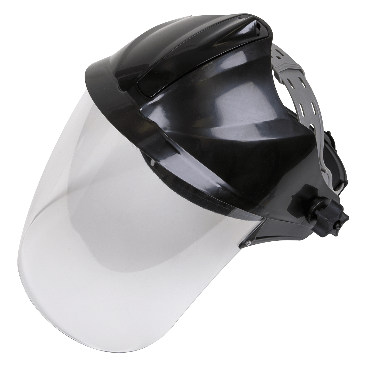 Sealey Deluxe Brow Guard with Aspherical Polycarbonate Full Face Shield SSP78   Ratchet adjustable headband with front and back padding for extra comfort.   toolforce.ie