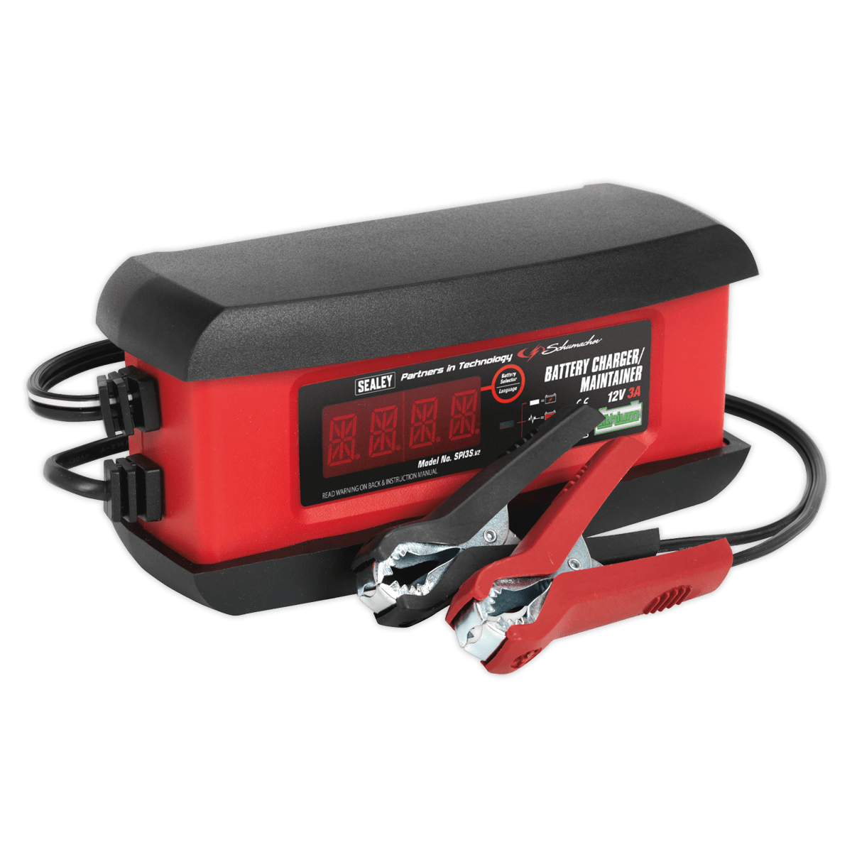 Sealey Schumacher® Intelligent Lithium Battery Charger 3Amp 12V SPI3S | Fully automatic microprocessor controlled battery charger and maintainer, featuring patented Speed Charge technology. | toolforce.ie