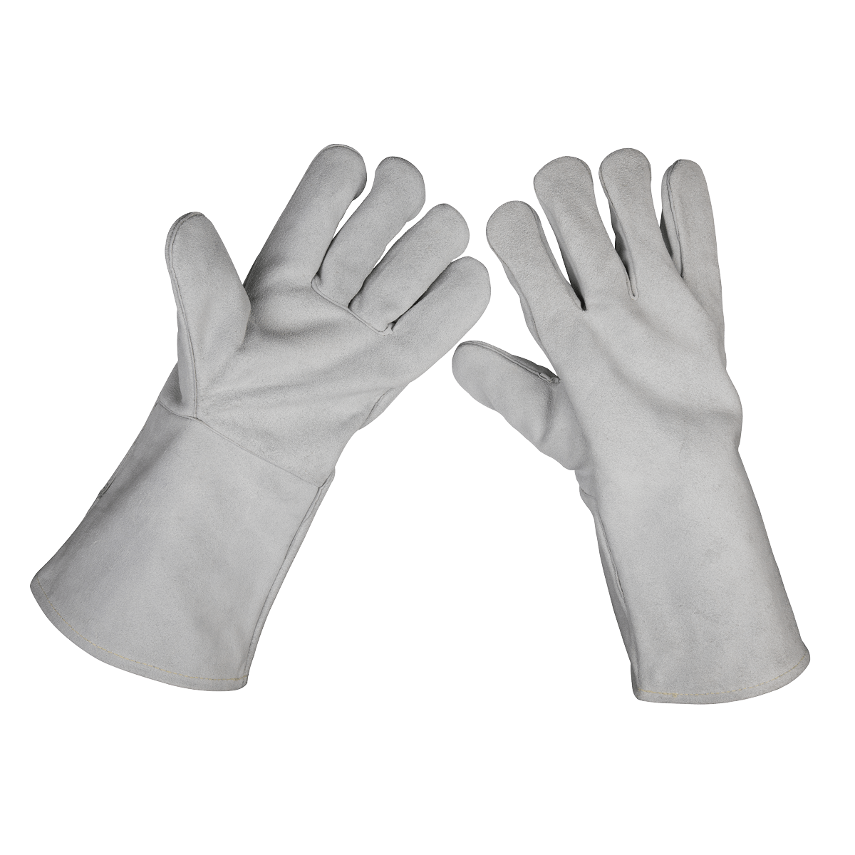 Sealey Leather Welding Gauntlets Lined Heavy-Duty Extra-Large - Pair SSP151   Heavy-duty traditionally designed extra-large welding gauntlets providing excellent protection against spatter and heat.   toolforce.ie