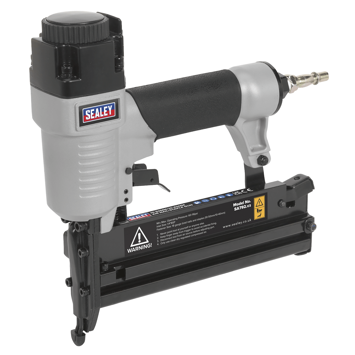 Sealey Air Nail/Staple Gun 10-50mm/10-40mm Capacity SA792   Professional air nailer/stapler with lightweight aluminium body and rubber grip handle.   toolforce.ie
