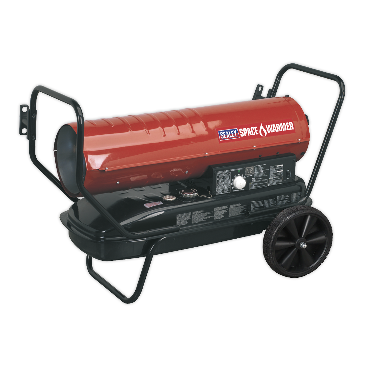 Sealey Space Warmer® Paraffin/Kerosene/Diesel Heater 125,000Btu/hr with Wheels AB1258 | Fitted with thermostat and digital room temperature display both given in °C. | toolforce.ie