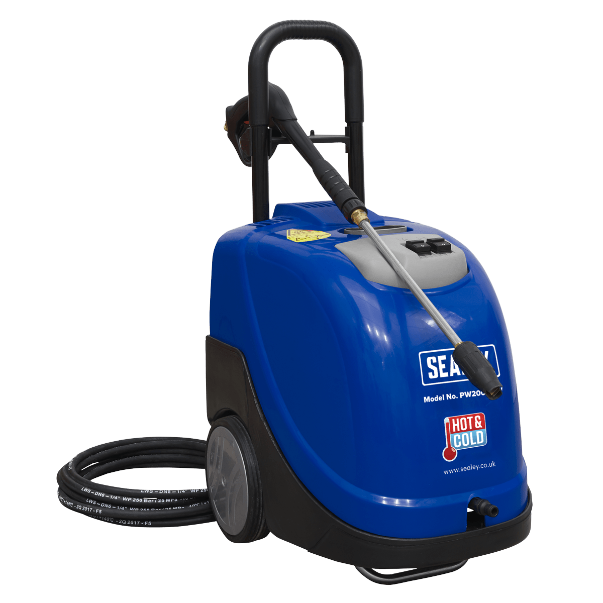 Sealey Hot Water Pressure Washer 135bar 230V PW2000HW   Fitted with a heavy-duty, upgraded induction electric motor with a diesel water heater.   toolforce.ie