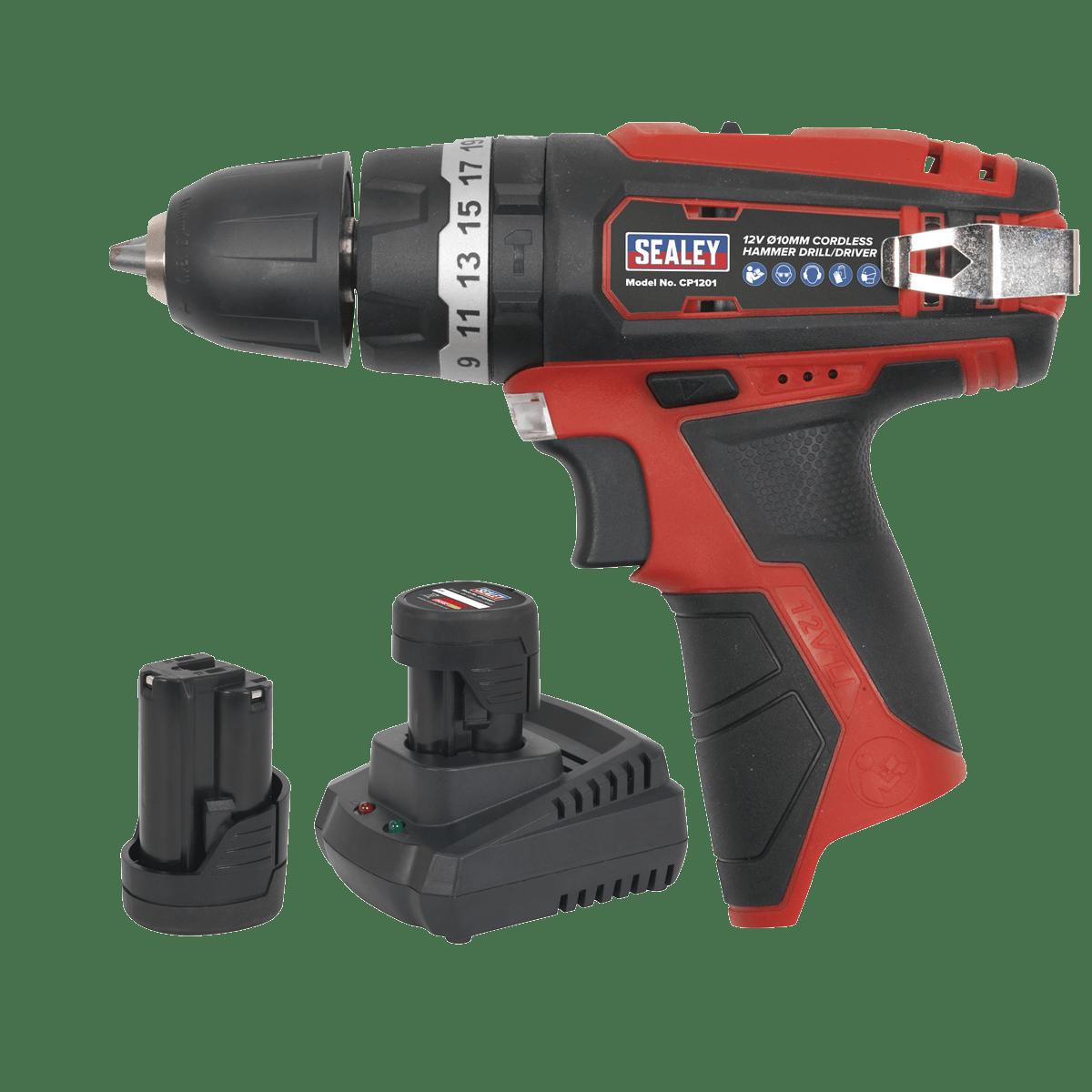 Sealey Hammer Drill/Driver Kit Ø10mm 12V Lithium-ion - 2 Batteries CP1201KIT