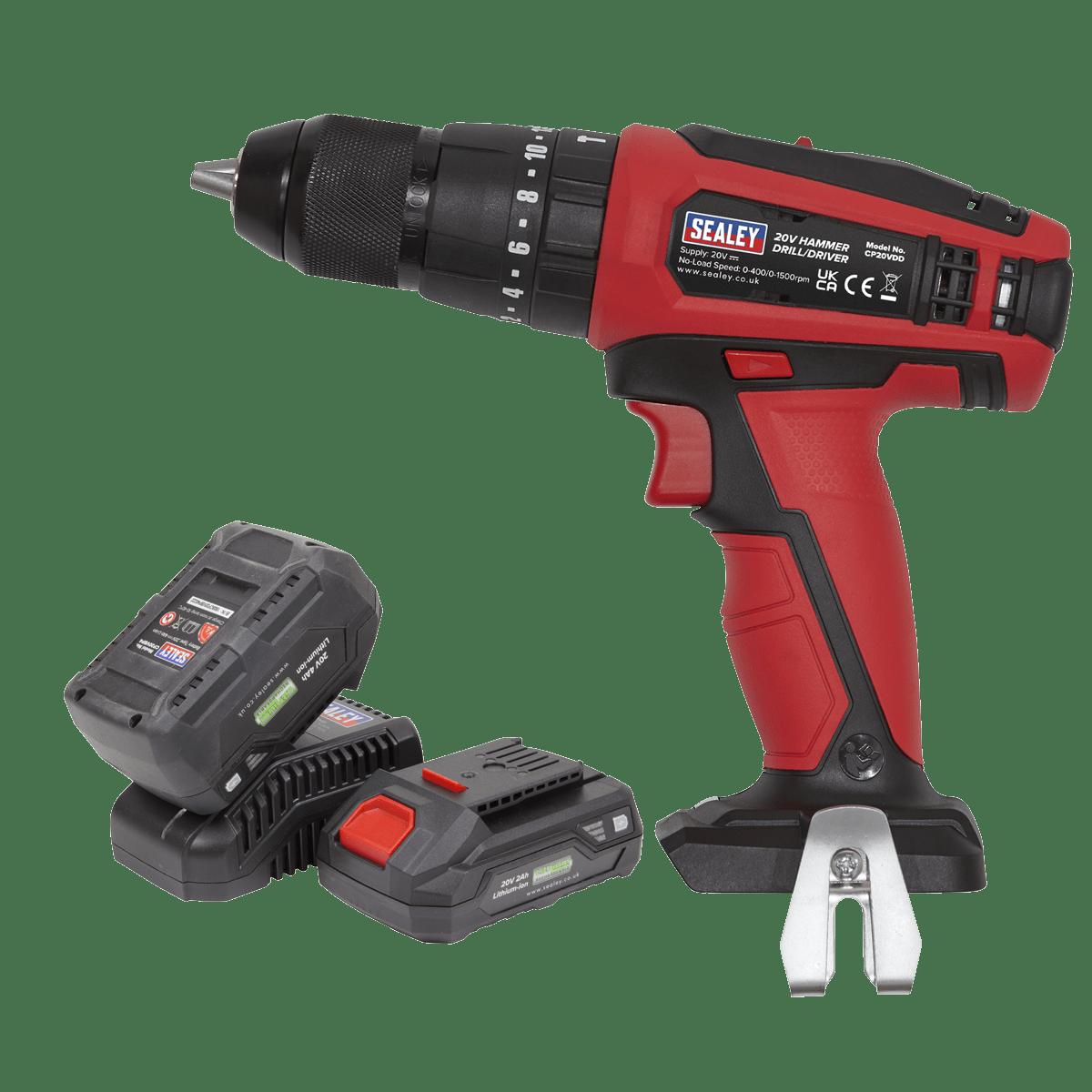 Sealey Hammer Drill/Driver Kit Ø13mm 20V - 2 Batteries CP20VDDKIT