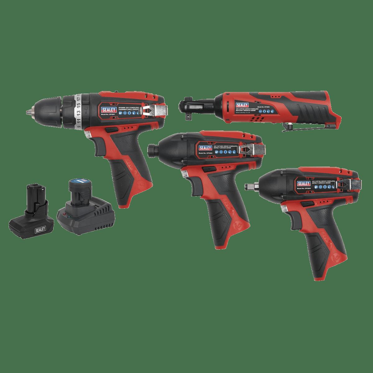 Sealey SV12 Series 4 x 12V Cordless Power Tool Combo Kit CP1200COMBO