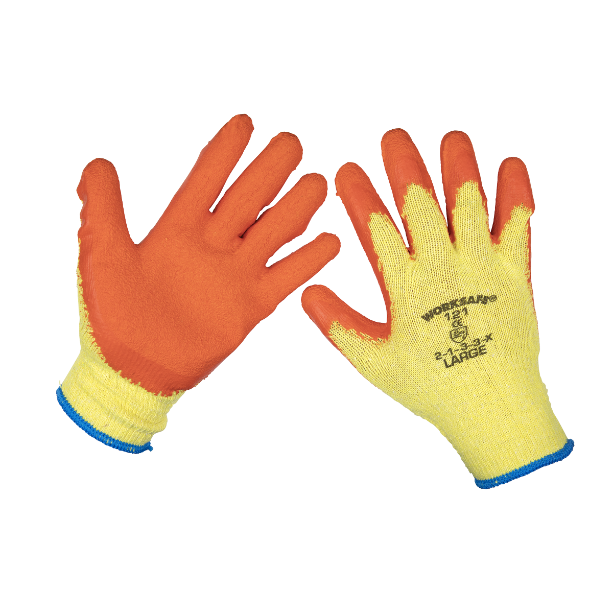 Sealey Super Grip Knitted Gloves Latex Palm (Large) - Pack of 12 Pairs 9121L/12   Latex coating with poly cotton lining gives superior grip in wet and dry conditions.   toolforce.ie