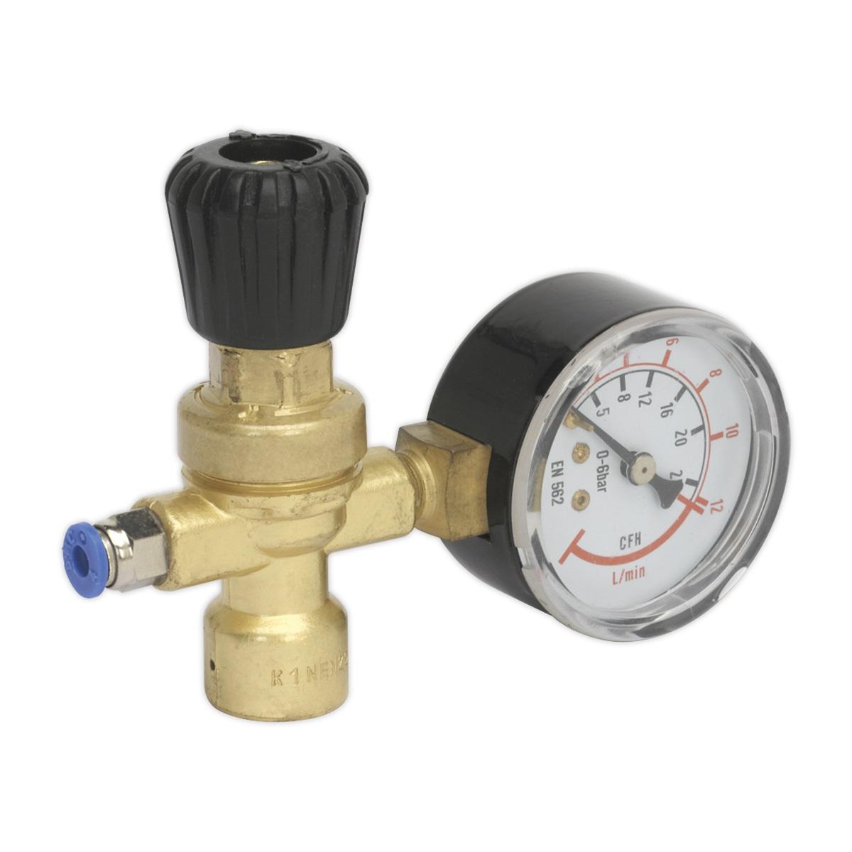 Sealey MIG Gas Regulator Disposable Cylinder 1 Gauge REG/MMG   Industrial regulators fit CO2, Argon and CO2/Argon mix mini refillable/disposable gas cylinders.   toolforce.ie