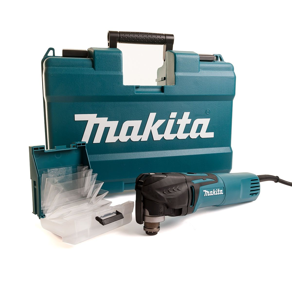 Makita Ois Quick Change Multi Tool In Case 240v MAKTM3010CK | With an oscillating rate of up 20,000 revs per minute the TM3010 will glide through even the toughest cutting jobs with ease. | toolforce.ie