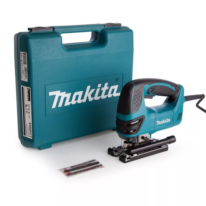 Makita Jigsaw 110v MAK4350FCTL   Makita's Top Handle Jigsaw, the 4350FCT, combines power and superior feel with substantially less vibration and noise for improved cutting performance.   toolforce.ie