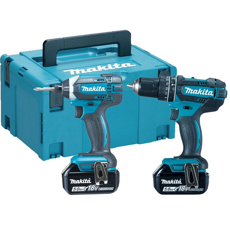The DLX2131MJ2 (DLX2131) twin kit from Makita contains the DHP482 Combi Drill and the DTD152 Impact.   This version comes with 2x 5.0Ah BL1850B lithium-ion batteries.   toolforce.ie