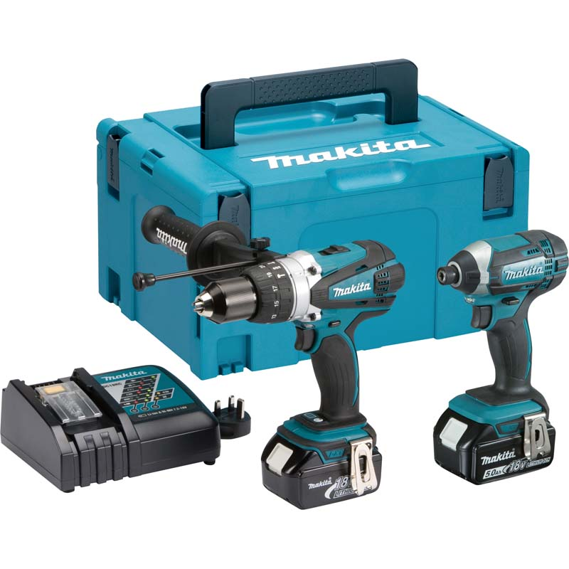 Makita 18v Twin Pack 2x 5.0ah MAKDLX2145TJ   Packed in the Makpac connector case is the DC18RC quick charger and 2x 5.0Ah high performance 18v Makita batteries.   toolforce.ie